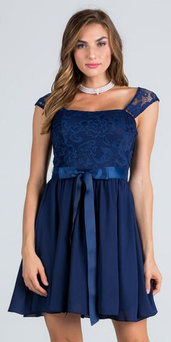 Navy Cocktail Dress Cut Out Back with Ribbon Sash Belt