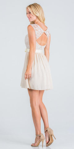 Nude Cocktail Dress Cut Out Back with Ribbon Sash Belt