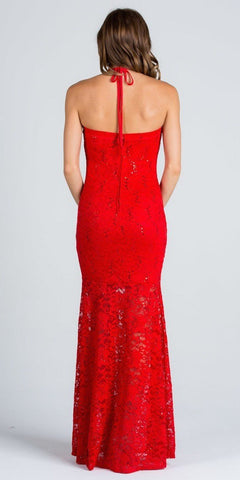 Embellished Neckline Halter Long Mermaid Formal Dress Red