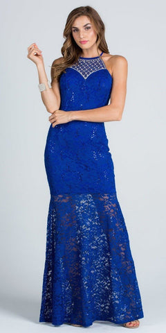 Embellished Neckline Halter Long Mermaid Formal Dress Royal Blue