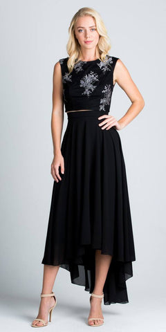 High Low Two Piece Homecoming Dress Sleeveless Lace Top Black