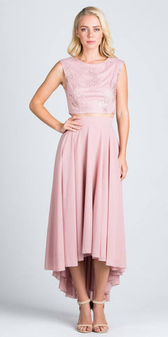 High Low Two Piece Homecoming Dress Sleeveless Lace Top Blush