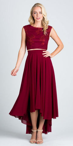 High Low Two Piece Homecoming Dress Sleeveless Lace Top Burgundy