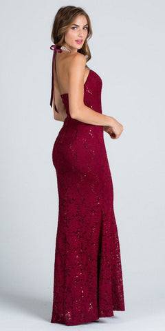 Cut Out Embellished Neckline Mermaid Long Formal Dress Burgundy
