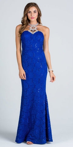 Cut Out Embellished Neckline Mermaid Long Formal Dress Royal Blue