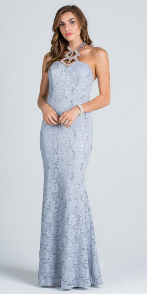 Cut Out Embellished Neckline Mermaid Long Formal Dress Silver