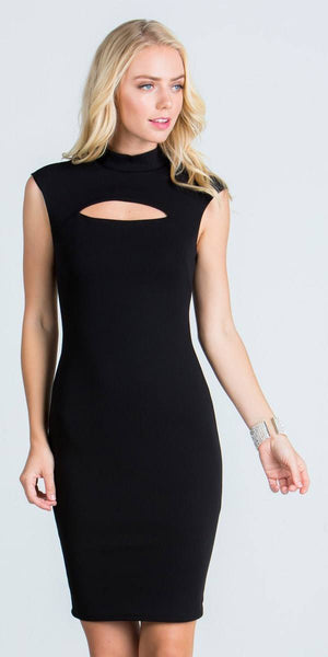 Black Close Neck Cap Sleeves Bodycon Cocktail Dress with Keyhole
