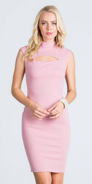 Blush Close Neck Cap Sleeves Bodycon Cocktail Dress with Keyhole
