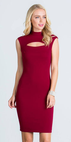 Burgundy Close Neck Cap Sleeves Bodycon Cocktail Dress with Keyhole