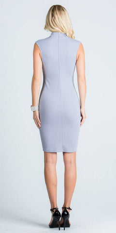 Silver Close Neck Cap Sleeves Bodycon Cocktail Dress with Keyhole
