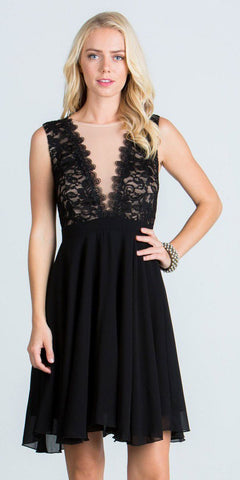 Black-Nude Lace Bodice A-Line Short Cocktail Dress Sleeveless