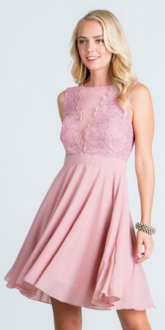 Blush Lace Bodice A-Line Short Cocktail Dress Sleeveless