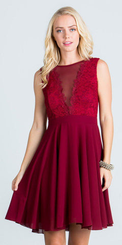 Burgundy Lace Bodice A-Line Short Cocktail Dress Sleeveless