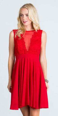 Red Lace Bodice A-Line Short Cocktail Dress Sleeveless