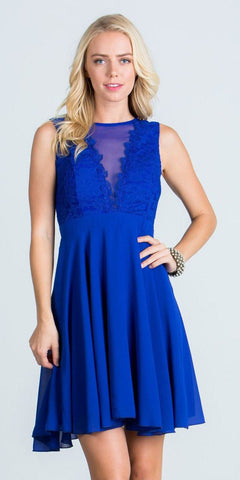 Royal Blue Lace Bodice A-Line Short Cocktail Dress Sleeveless