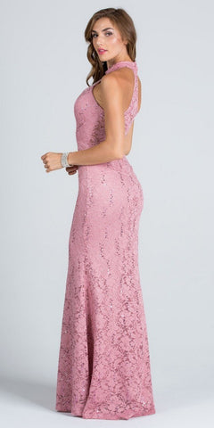 Blush Mermaid Lace Prom Gown Embellished Halter High Neckline