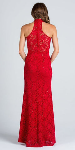 Red Mermaid Lace Prom Gown Embellished Halter High Neckline