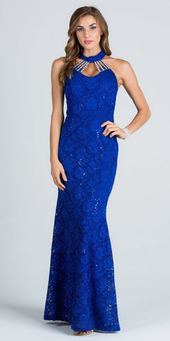Royal Blue Mermaid Lace Prom Gown Embellished Halter High Neckline