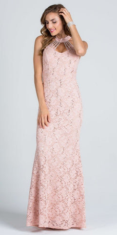Taupe Mermaid Lace Prom Gown Embellished Halter High Neckline