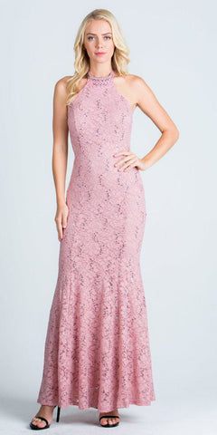 Lace Beaded Neckline Halter Long Formal Sheath Dress Blush
