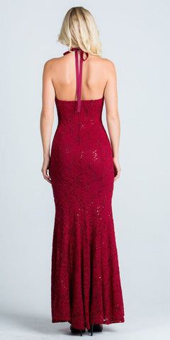 Lace Beaded Neckline Halter Long Formal Sheath Dress Burgundy
