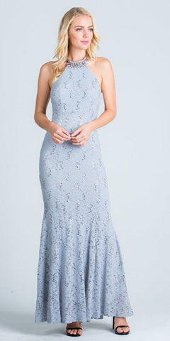 Lace Beaded Neckline Halter Long Formal Sheath Dress Silver