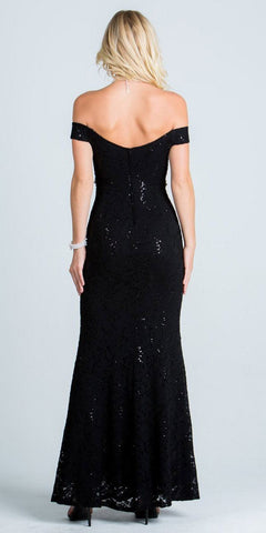 Long Off Shoulder Lace Formal Dress Embellished Waist Black