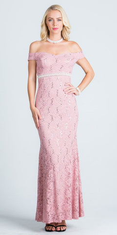Long Off Shoulder Lace Formal Dress Embellished Waist Blush