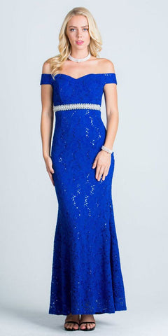 Long Off Shoulder Lace Formal Dress Embellished Waist Royal Blue