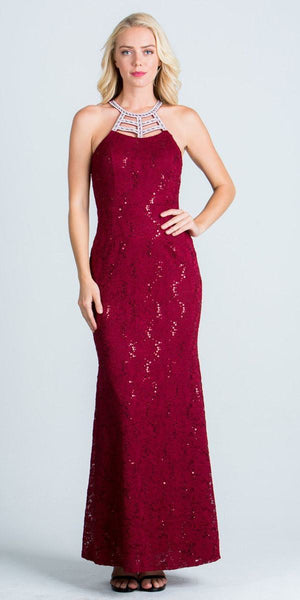 Halter Long Formal Sheath Dress Cut Out Beaded Neckline Burgundy