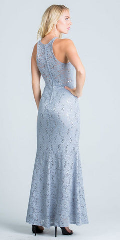 Halter Long Formal Sheath Dress Cut Out Beaded Neckline Silver