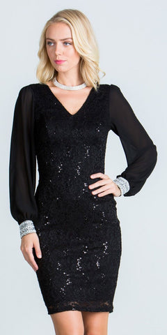 Long Sleeves Bodycon Short Cocktail Dress V-Neck Black