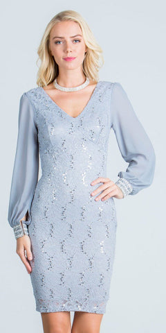 Long Sleeves Bodycon Short Cocktail Dress V-Neck Silver