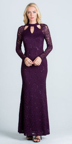 Eggplant Cut Out Neckline Long Formal Dress Keyhole Back Long Sleeves