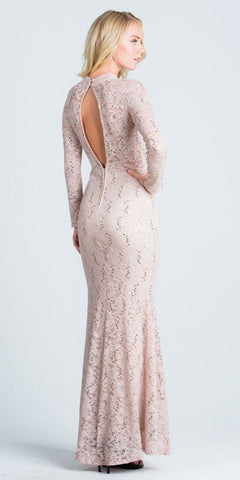 Taupe Cut Out Neckline Long Formal Dress Keyhole Back Long Sleeves