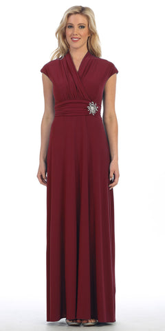Celavie 2466L Burgundy Cap Sleeves A-line Long Formal Dress with Brooch
