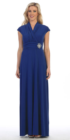 Celavie 2466L Royal Blue Cap Sleeves A-line Long Formal Dress with Brooch
