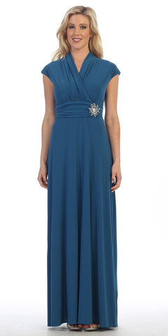 Celavie 2466L Teal Cap Sleeves A-line Long Formal Dress with Brooch