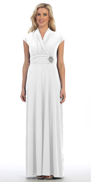 Celavie 2466L White Cap Sleeves A-line Long Formal Dress with Brooch
