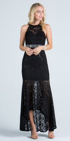 Lace Halter High and Low Formal Dress Keyhole Back Black