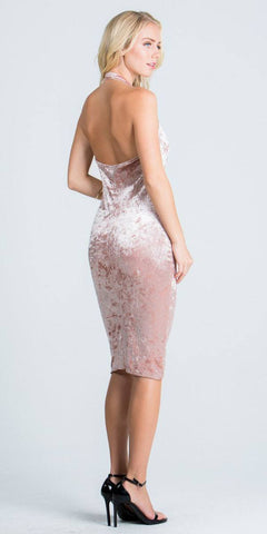 Cowl Neckline Halter Knee Length Party Dress Blush