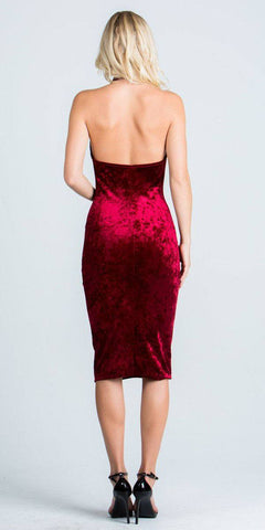 Cowl Neckline Halter Knee Length Party Dress Burgundy