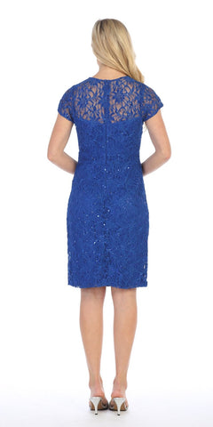 Celavie 2470 Lace Short Sleeves Knee-Length Cocktail Dress with Sequins Royal Blue Back View