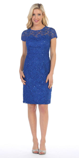Celavie 2470 Lace Short Sleeves Knee-Length Cocktail Dress with Sequins Royal Blue