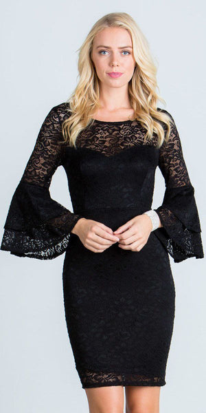 Black Scoop Neck Lace Fitted Short Cocktail Dress with Bell Sleeves