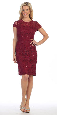 Lace Short Sleeves Knee-Length Cocktail Dress with Sequins Burgundy