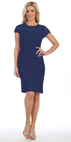 Lace Short Sleeves Knee-Length Cocktail Dress with Sequins Navy Blue