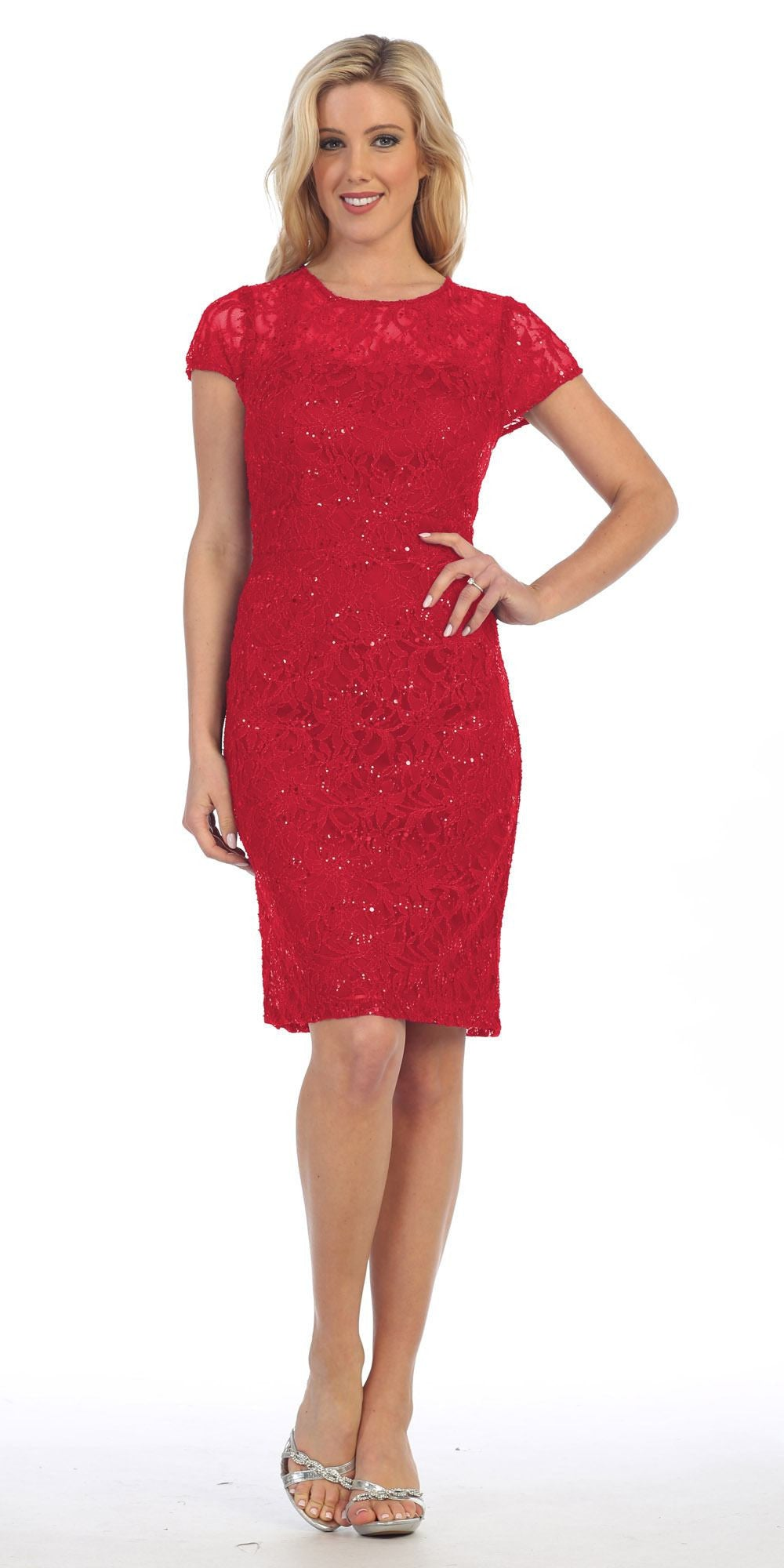 Lace Short Sleeves Knee-Length Cocktail Dress with Sequins Red
