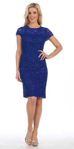 Lace Short Sleeves Knee-Length Cocktail Dress with Sequins Royal Blue