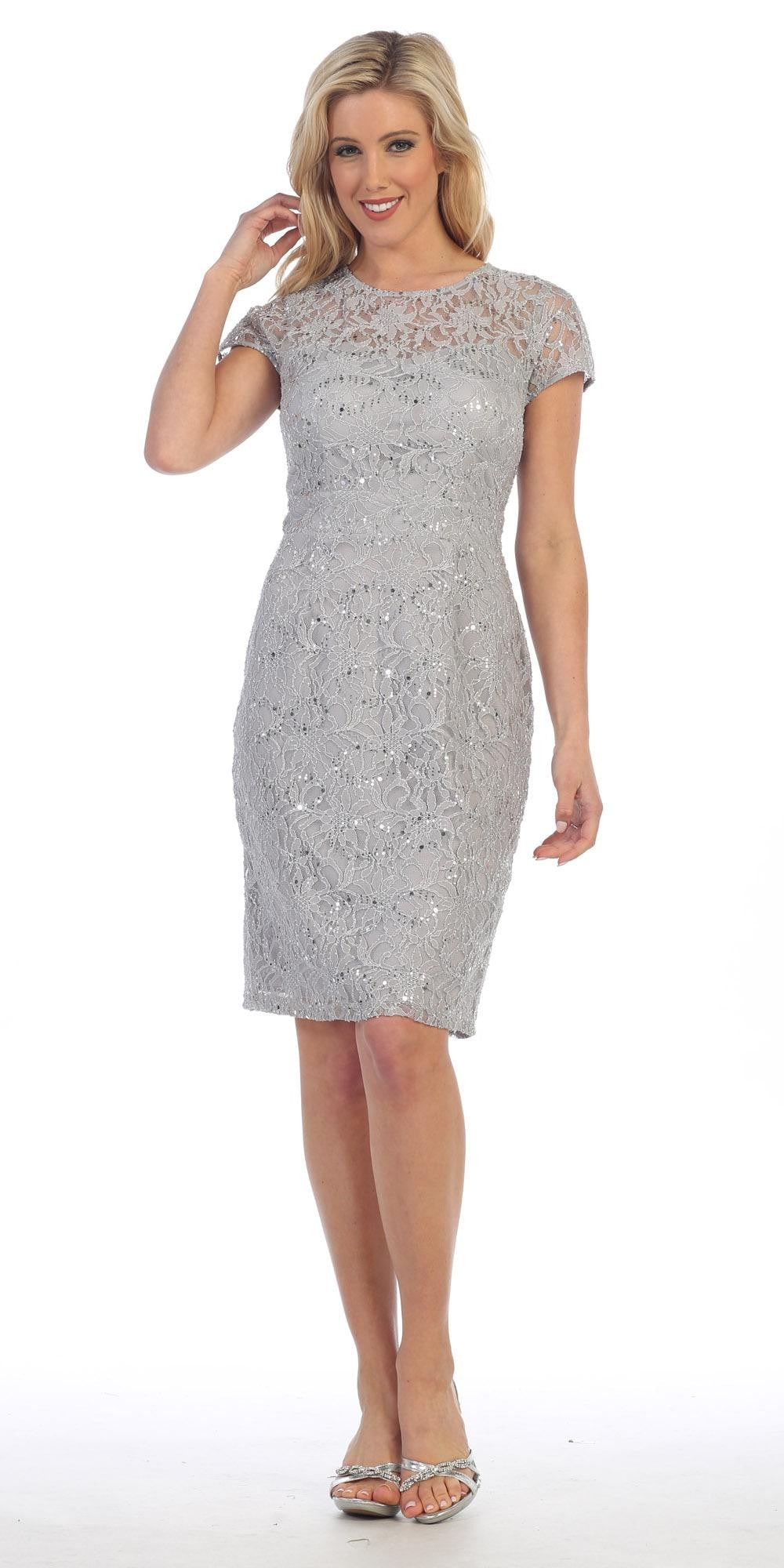 Lace Short Sleeves Knee-Length Cocktail Dress with Sequins Silver